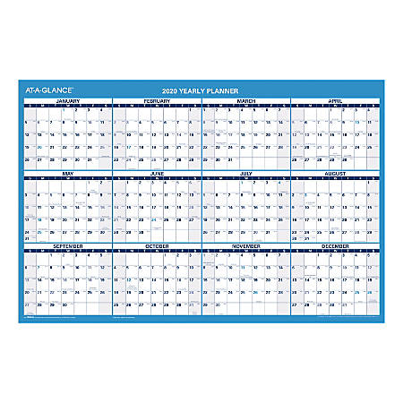 """AT-A-GLANCE® Erasable Yearly Wall Calendar With Notes Section, 36"""" x 24"""", January To December 2020, PM20028"""