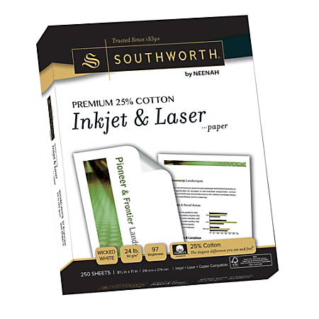 "Southworth® 25% Cotton Laser Paper, 8 1/2"" x 11"", FSC® Certified, 55% Recycled, 24 Lb, Wicked White, Box Of 250"