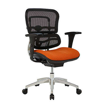 WorkPro® 12000 Ergonomic Mesh/Fabric Managerial Mid-Back Chair, Tangerine/Black/Chrome