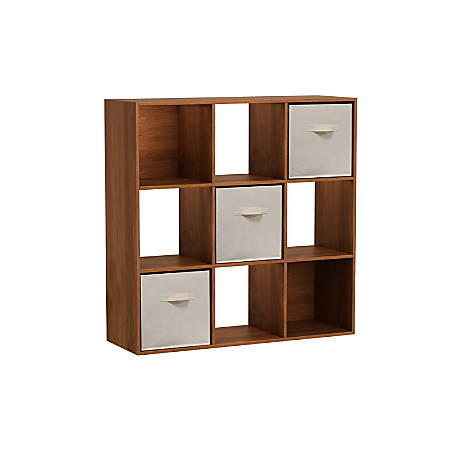 Homestar North America 9-Cube Bookcase With Bins, Brown