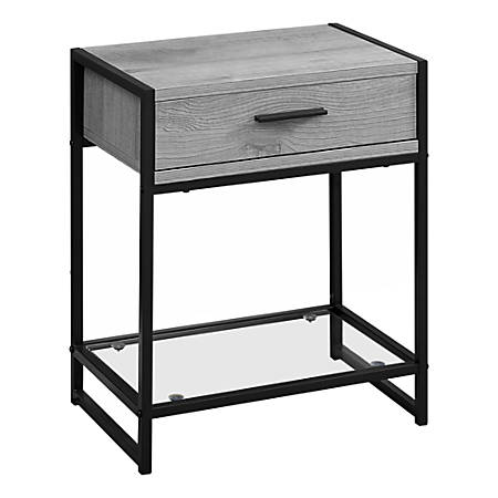 Monarch Specialties Side Accent Table With Glass Shelf, Rectangular, Gray Wood/Black