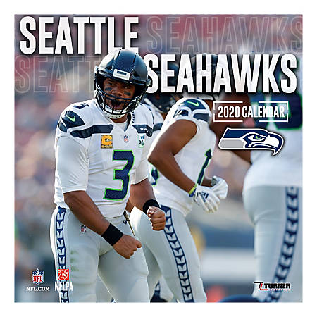 """Turner Licensing Monthly Wall Calendar, 12"""" x 12"""", Seattle Seahawks, 2020"""