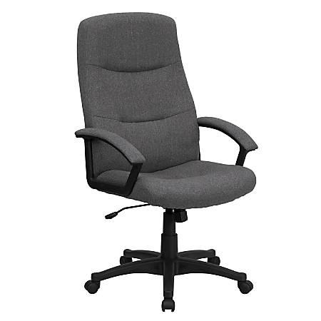 Flash Furniture Fabric High-Back Swivel Chair, Gray/Black