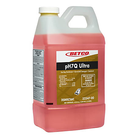Betco® PH7Q Ultra Concentrate Neutral pH Disinfectant, Pleasant Lemon Scent, 2-Liter, Case Of 4