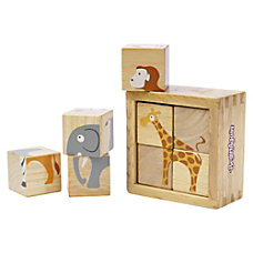 BeginAgain Toys Toddlers Safari Animals Blocks