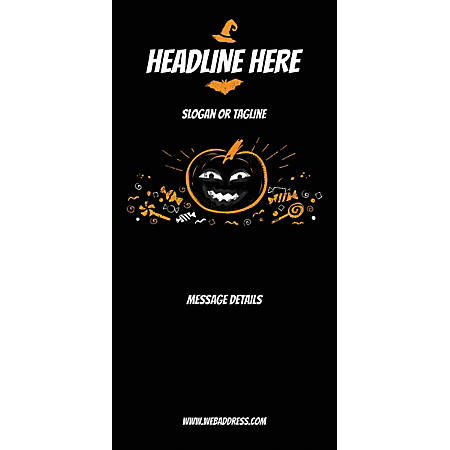 Custom Vertical Display Banner, Black Halloween