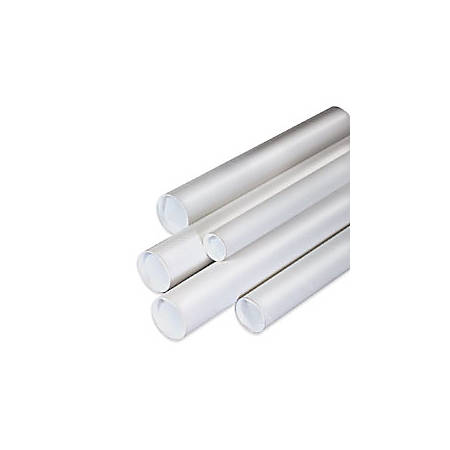 "Office Depot® Brand White Mailing Tubes With Plastic Endcaps, 1 1/2"" x 15"", 80% Recycled, Pack Of 50"