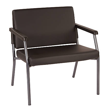 Bariatric Big & Tall Chair in Dillion Black Fabric with Soft PU Arms, Sturdy Metal Frame and Metal Back Bar Re-enforcement