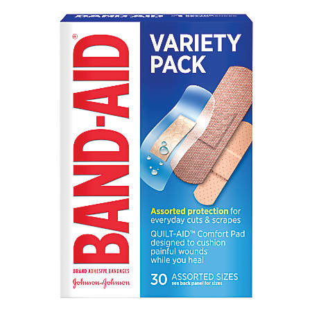 BAND-AID® Brand Active Lifestyle Adhesive Bandages, Variety Pack, Pack of 30