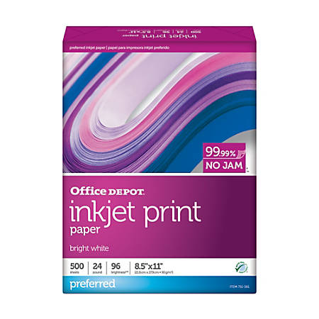 "Office Depot® Inkjet Print Paper, Letter Size (8 1/2"" x 11""), 24 Lb, FSC® Certified, 30% Recycled, Ream Of 500 Sheets"