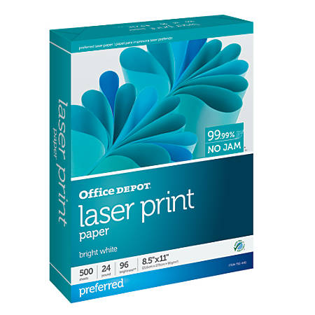 "Office Depot® Laser Print Paper, Letter Size (8 1/2"" x 11""), 24 Lb, 30% Recycled, FSC® Certified, Ream Of 500 Sheets"
