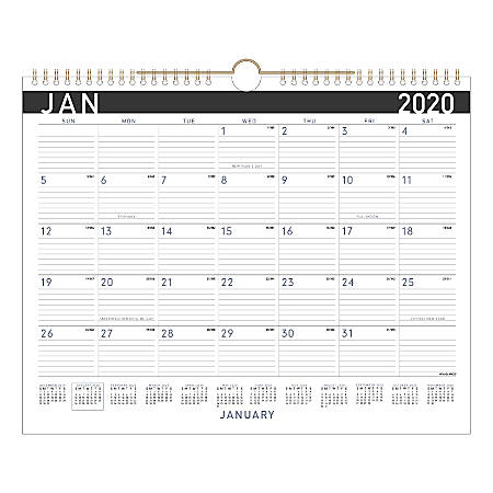 """AT-A-GLANCE® Contemporary Monthly Wall Calendar, 15"""" x 12"""", January To December 2020, PM8X28"""