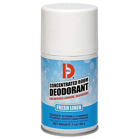 BIG D® Metered Concentrated Room Deodorant, Fresh Linen Scent, 7 Oz, Carton Of 12 Aerosol Containers