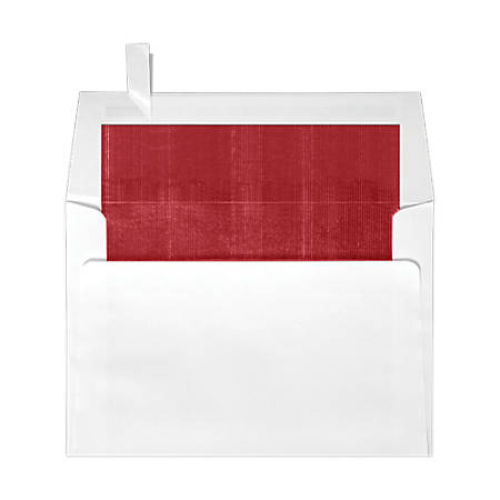 """LUX Square Envelopes With Peel & Press Closure, 6 1/2"""" x 6 1/2"""", Red/White, Pack Of 250"""