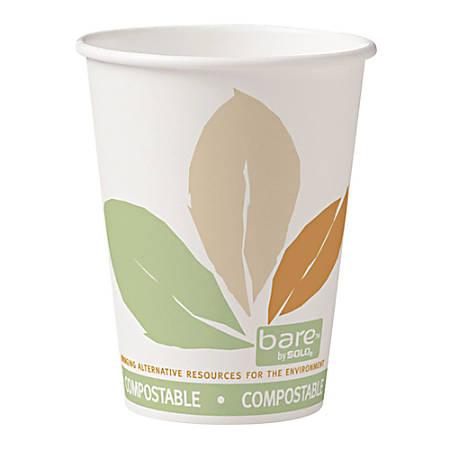 Dart® Bare® Eco-Forward® PLA Paper Hot Cups, 12 Oz, Leaf, 50 Cups Per Bag, Carton Of 20 Bags