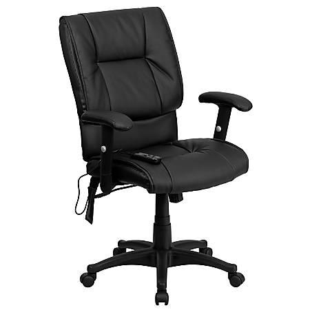 Flash Furniture LeatherSoft Mid-Back Massaging Chair, Black