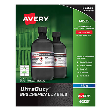 """Avery® UltraDuty GHS Chemical Labels For Pigment-Based Inkjet Printers, 60525, 2"""" x 4"""", White, Pack Of 500"""