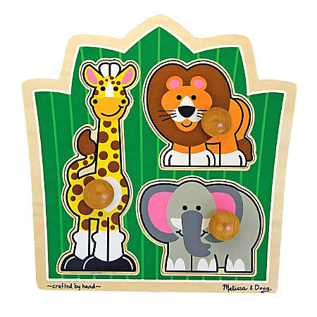 Melissa & Doug Jungle Safari Friends 3-Piece Jumbo Knob Puzzle