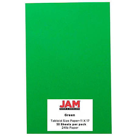 """JAM Paper® Cover Card Stock, 11"""" x 17"""", 65 Lb, 30% Recycled, Green, Pack Of 50 Sheets"""