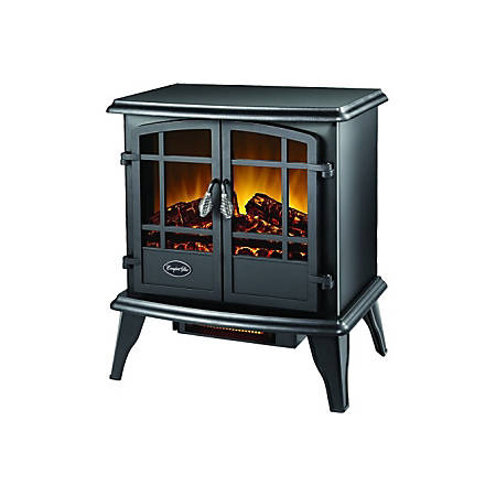 Comfort Glow The Keystone Electric Stove with Infrared Quartz (Black) - Infrared - Electric - Electric - 1348.13 W - 700 Sq. ft. Coverage Area - 1500 W - Indoor - Gloss Black