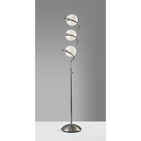 "Adesso® Olympia LED Floor Lamp, 64-1/2""H, White Opal Shades/Brushed Steel Base"
