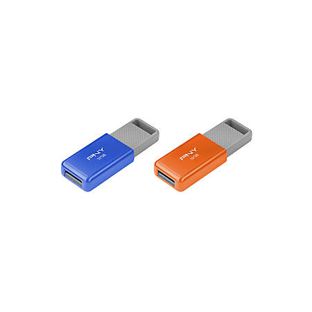 PNY USB 2.0 Flash Drives, 32GB, Assorted, Pack Of 2, P-FD32GX2ODM-GE
