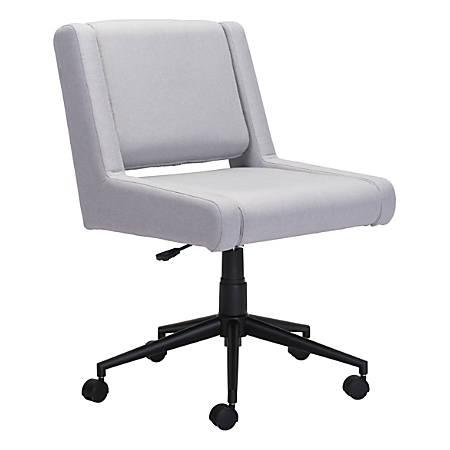 Zuo Modern Brix Mid-Back Chair, Light Gray/Black