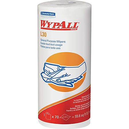 Wypall L30 General-Purpose Wipers - 70 Sheets/Roll - White - Perforated - For Face, Hand - 24 / Carton