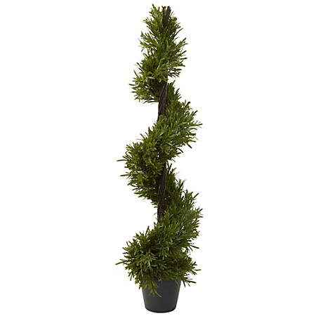 """Nearly Natural 39""""H Plastic Rosemary Spiral Tree With Pot"""