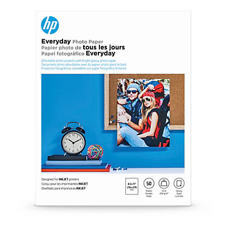 "HP Everyday Photo Paper, Letter Size (8 1/2"" x 11""), Glossy, 53 Lb, Pack Of 50 Sheets"
