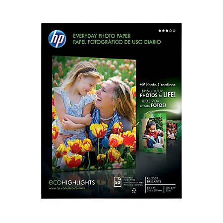 """HP Everyday Photo Paper, 8 1/2"""" x 11"""", Glossy, 53 Lb, Pack Of 50 Sheets"""