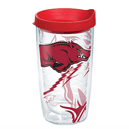 Tervis Genuine NCAA Tumbler With Lid, Arkansas Razorbacks, 16 Oz, Clear