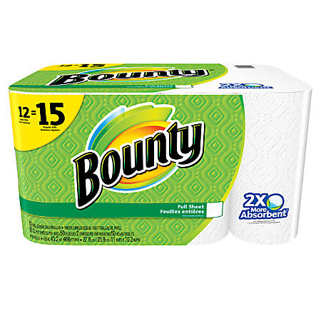"""Bounty® 2-Ply Paper Towels, 11"""" x 10 1/5"""", White, 50 Sheets Per Roll, Pack Of 12 Rolls"""
