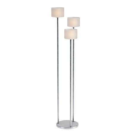 "Kenroy Home Matrielle 3-Light Torchiere Floor Lamp, 72""H, Brushed Steel"