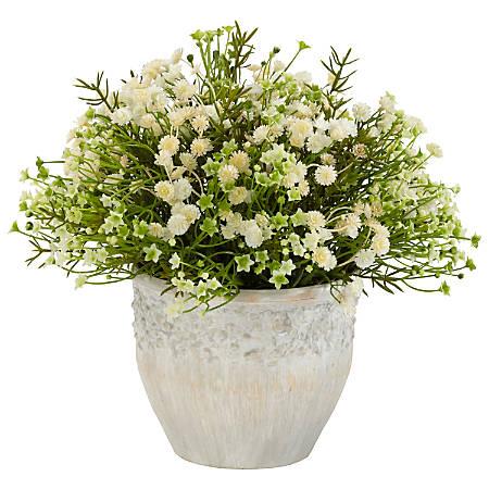 "Nearly Natural 11""H Silk Mixed Mi Daisy Plant With Ceramic Pot"