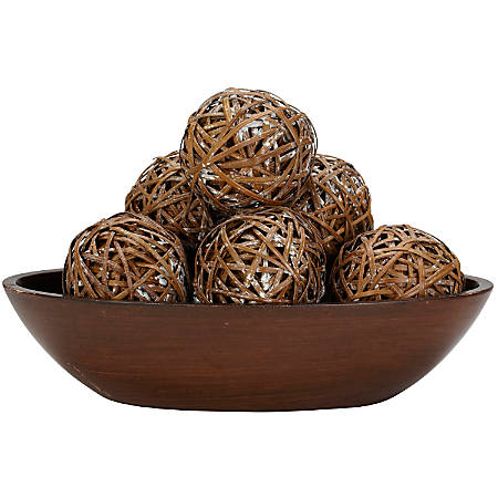 """Nearly Natural 3 3/4""""H Wicker Decorative Balls, Set Of 6"""