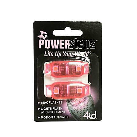 """4ID Power Stepz Motion Activated LEDs, 4""""H x 2 3/4""""W x 1""""D, Pink, Pack Of 2 Lights"""