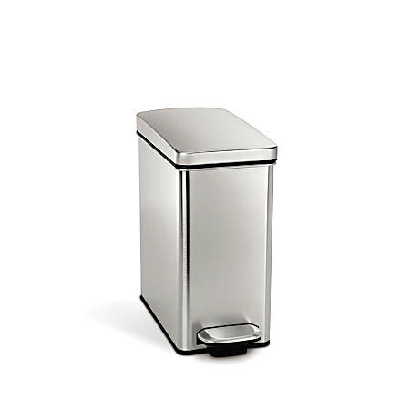 simplehuman® Brushed Stainless Steel Profile Step Can, Silver, 2.6 Gallons