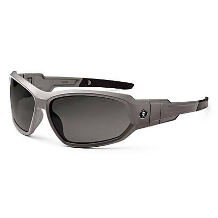 Ergodyne Skullerz® Safety Glasses, Loki, Anti-Fog, Matte Gray Frame, Smoke Lens