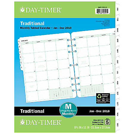 """Day-Timer® Original Organizer Refill, 8 1/2"""" x 11"""", 90% Recycled, January to December 2018 (873291801)"""