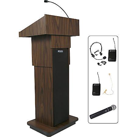 "AmpliVox SW505A - Wireless Executive Adjustable Column Lectern - 45"" Height x 25"" Width x 19"" Depth - High Pressure Laminate (HPL), Walnut - Wood"
