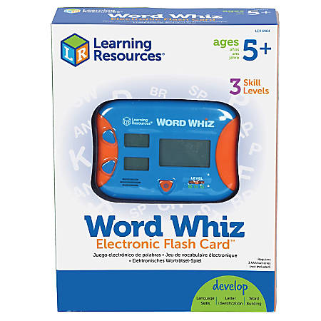 """Learning Resources® Word Whiz Electronic Flash Card, 5"""" x 4"""", Grades K-4"""