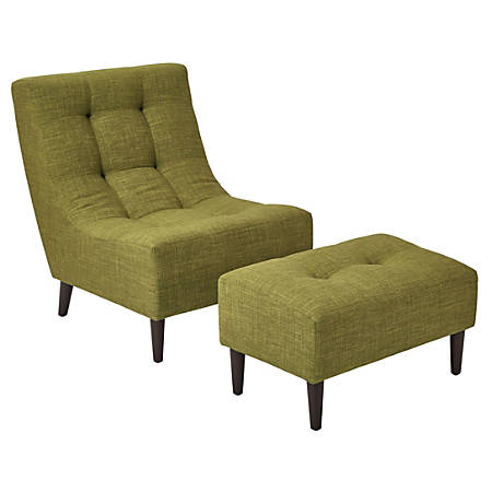 Ave Six Hudson Chair With Ottoman, Green/Espresso