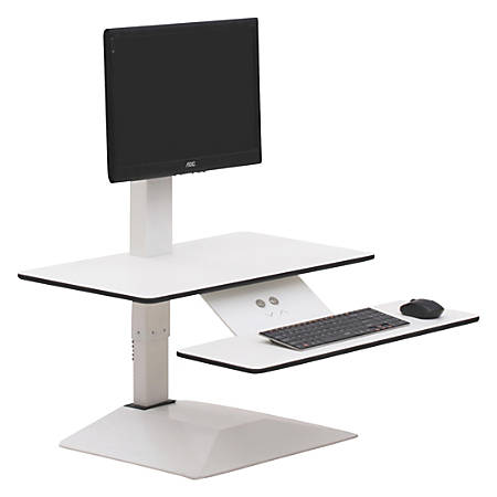 Lorell® E-Motion Electric Sit-To-Stand Desk Riser, White