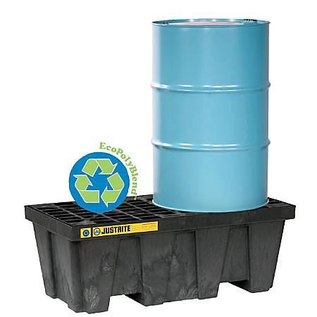 """Justrite 2-Drum Spill Control Pallet, 66 Gallons, 25""""H x 49""""W x 18""""D, Yellow"""