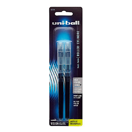 uni-ball® Vision™ Elite™ Liquid Rollerball Pen Refills, Bold Point, 0.8 mm, Blue/Black Ink, Pack Of 2