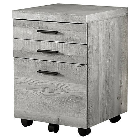 Monarch Specialties Letter/Legal-Size Lateral Filing Cabinet, 3 Drawers, Gray Wood Grain