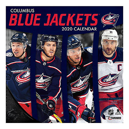 """Turner Licensing Monthly Wall Calendar, 12"""" x 12"""", Columbus Blue Jackets, 2020"""