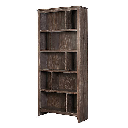 Linon Fitz EZ Assembly Bookcase, 2 Shelves, Washed Brown