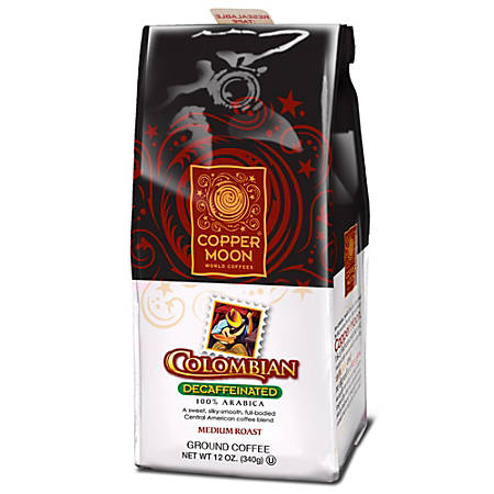 Copper Moon Colombian Decaf Ground Coffee, 12 Oz Per Bag, Case Of 6 Bags
